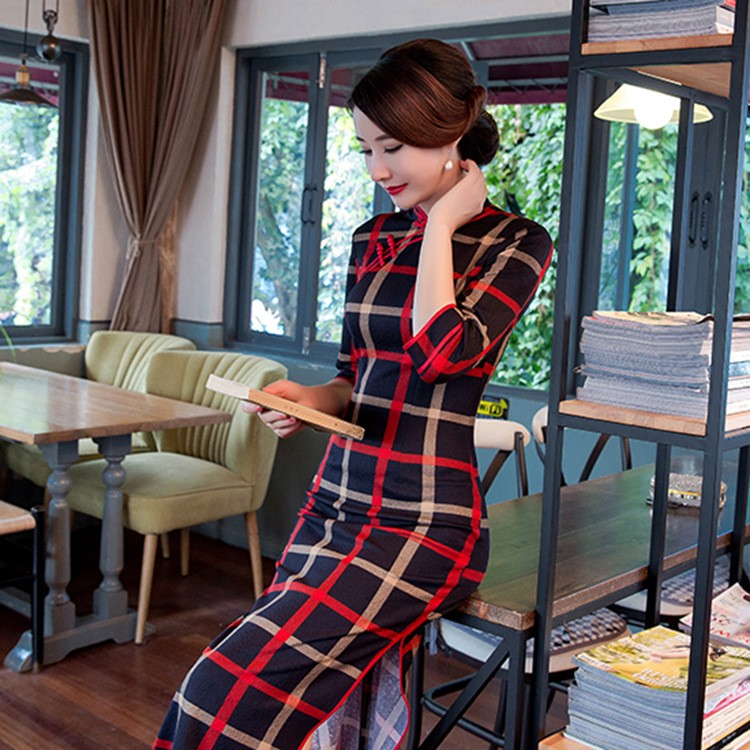 ลายสก๊อตวินเทจของผู้หญิงผ้าฝ้ายยาวCheongsamจีนแฟชั่นสไตล์การแต่งกายที่สวยงามQipaoขนาดSml XL XXL XXXL F101314 ถูก