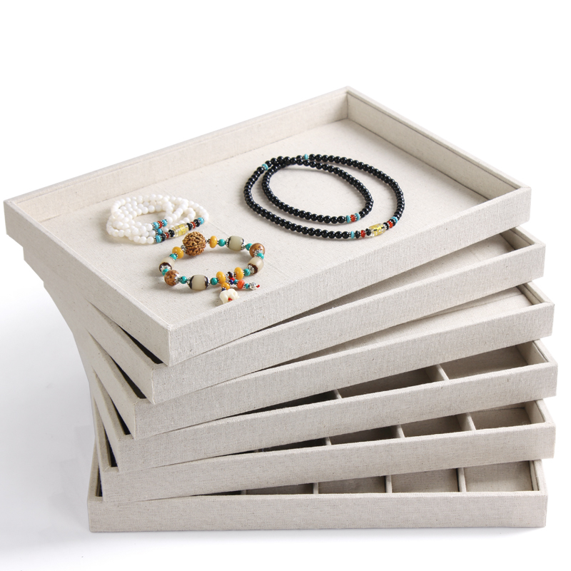 High grade white jute jewelry display tray jewellery holder organizer accessories storage case with nice design good quality(China (Mainland))