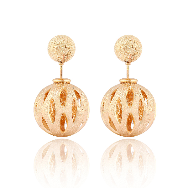 17KM Buy one get one free/ Fashion Brand Jewelry New Hot Gold Color Charming Round Double ball Stud Earrings(China (Mainland))
