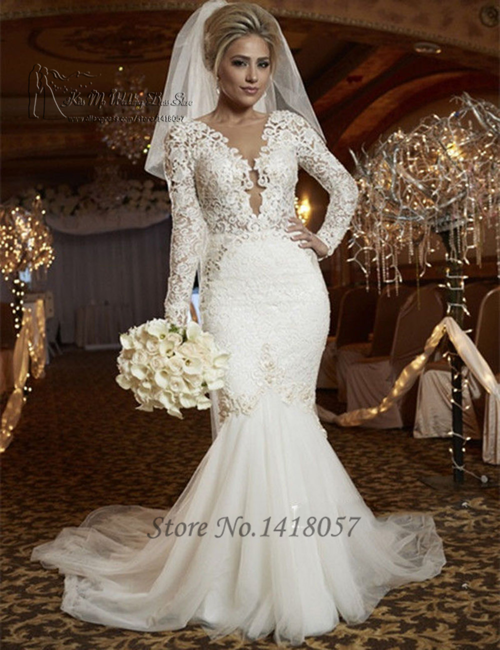 Sexy berta mermaid wedding dresses long sleeve v neck lace for Lace v neck backless wedding dress