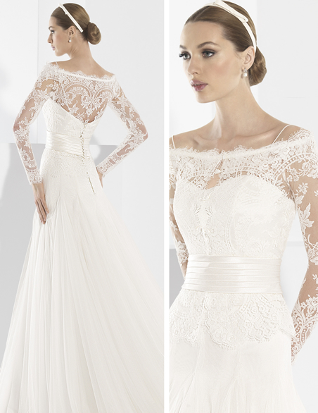 Hot Style Long Sleeve Top Lace Princess Wedding Gowns