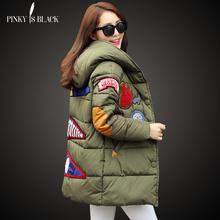 autumn and winter jacket women 2016 plus size women clothing wadded jacket parka medium-long patch cotton-padded jacket coat