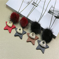 New Lucky Long Sweater Necklace Woman Wood Stars Cute Pom pom Pendant Necklace Fashion Jewelry Clothes