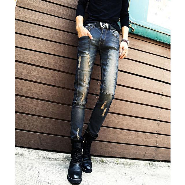 Мужская мода отверстия патч разорвал узкие джинсы мужской тонкий джинсовые брюки ...