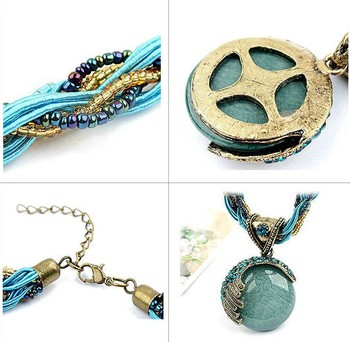 10pcs Bohemian Vintage Handmade Sweater Chain Crystal Pendant Necklace Pendants Necklaces Jewelry Blue Yellow Green  Red Nayoo