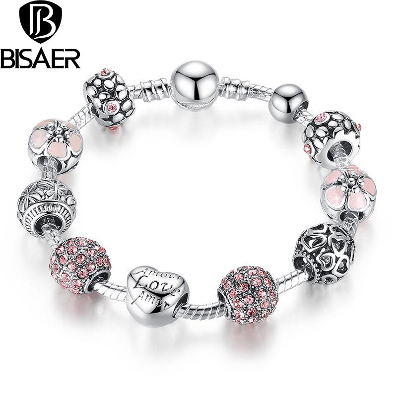 Luxury 925 Silver Heart Love Charm Crystal Beads bracelet for Women Fashion DIY Jewelry Fit Original Pandora Bracelets Gfit<br><br>Aliexpress