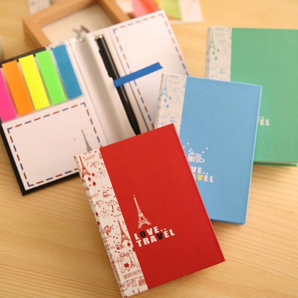 """""""Love Travel"""" 1 PC Cute Sticky Note Memo With Pen Pocket Post-It Sticker Adhesive Memo Pad(China (Mainland))"""