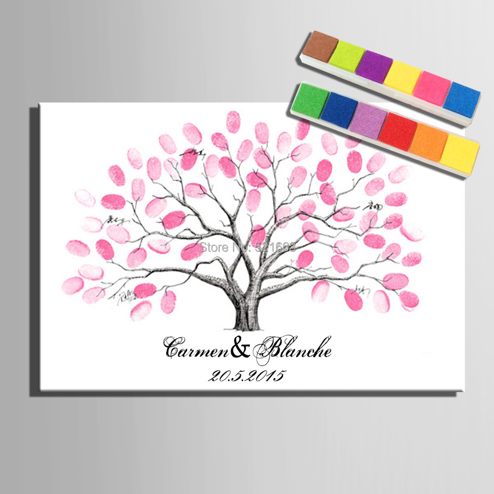 E-HOME Fingerprint Signature Canvas Painting Pink Tree Wedding Gift wedding decoration many styles Choice (Include 6Ink Colors)(China (Mainland))