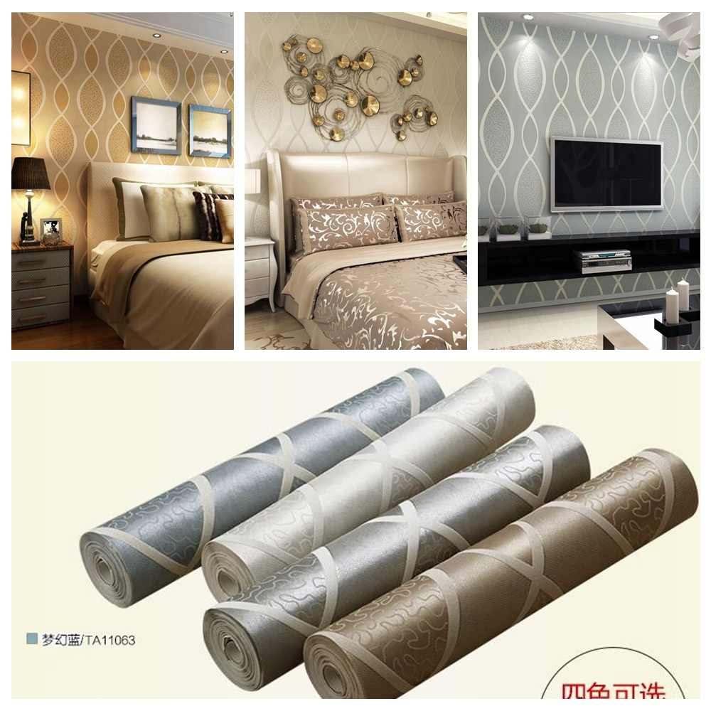 3D ripple bedroom sitting room Thickening non-woven luxury wallpaper roll,TV sofa background Embossed wall papers(China (Mainland))