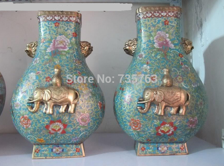 "xiuli 001422 14""China Royal family 100% Pure Bronze Gild cloisonne elephant LION Ears vase(China (Mainland))"