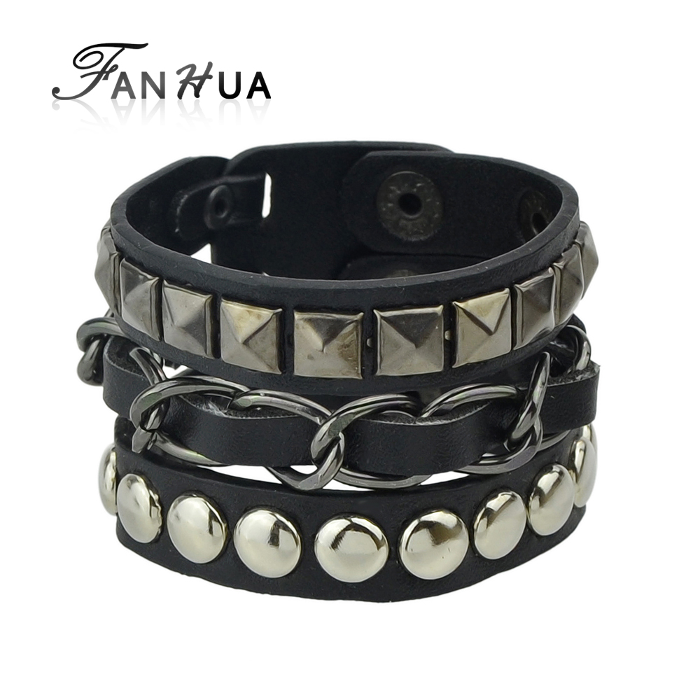 FANHUA Men Jewelry Hip Hop Rock Style Jewelry Black White Pu Leather Spikes Wrap Bracelets Bangles for Men and Women(China (Mainland))