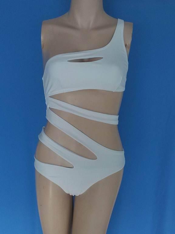 2015 сексуальные одна часть купальник повязку для женщин твердые белый и синий одно плечо Cut Out монокини купальники купальный костюм боди