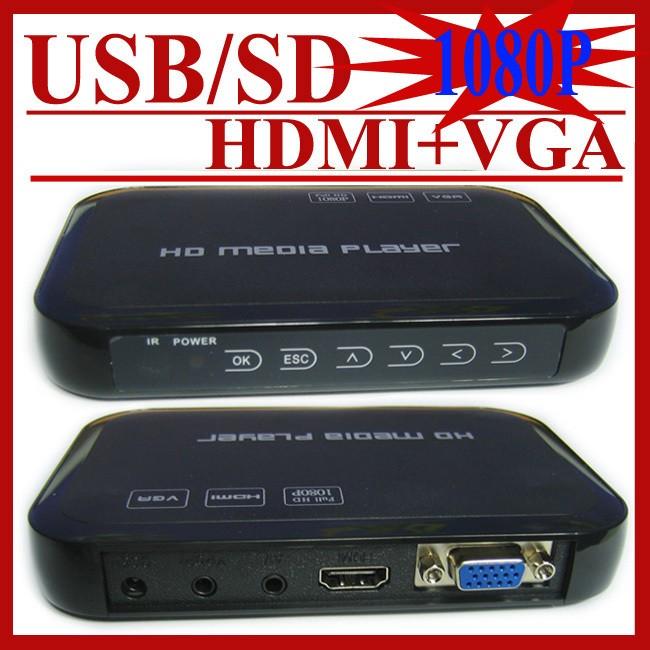 Gift&Free Shipping! Car media player USB Full Hd 1080p HDD Media Player Hdmi VGA MKV H.264 HD601 Included 8G U Disk+Car adapter(Hong Kong)