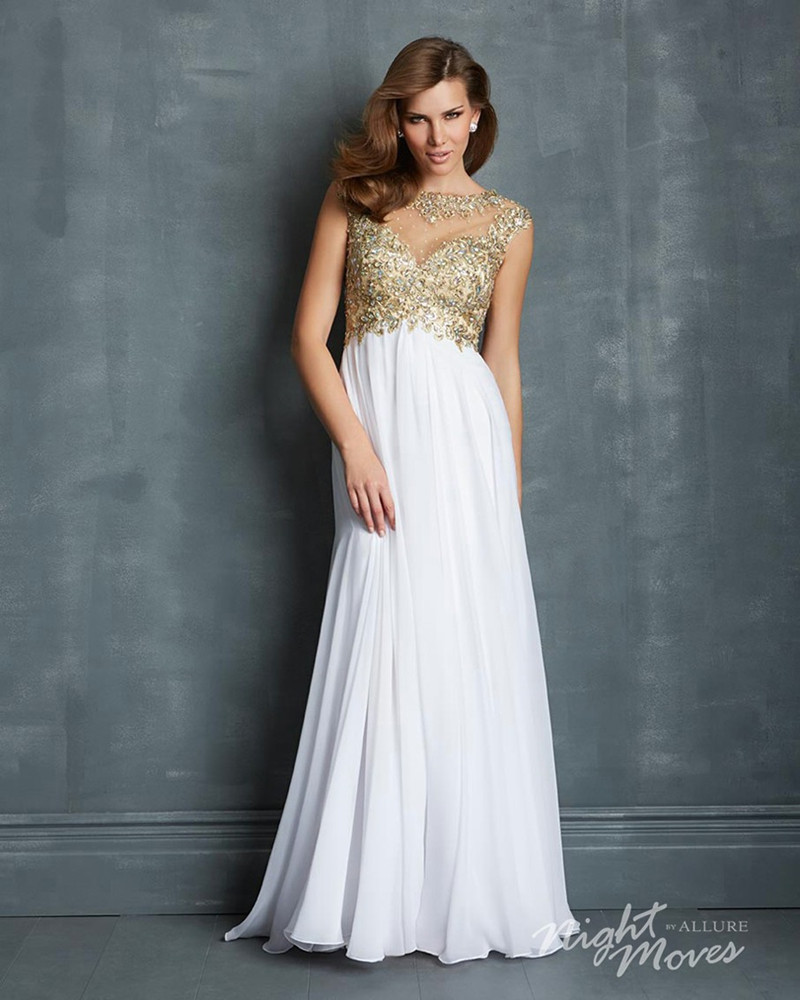 WHITE AND GOLD PROM DRESSES - Kalsene Fede