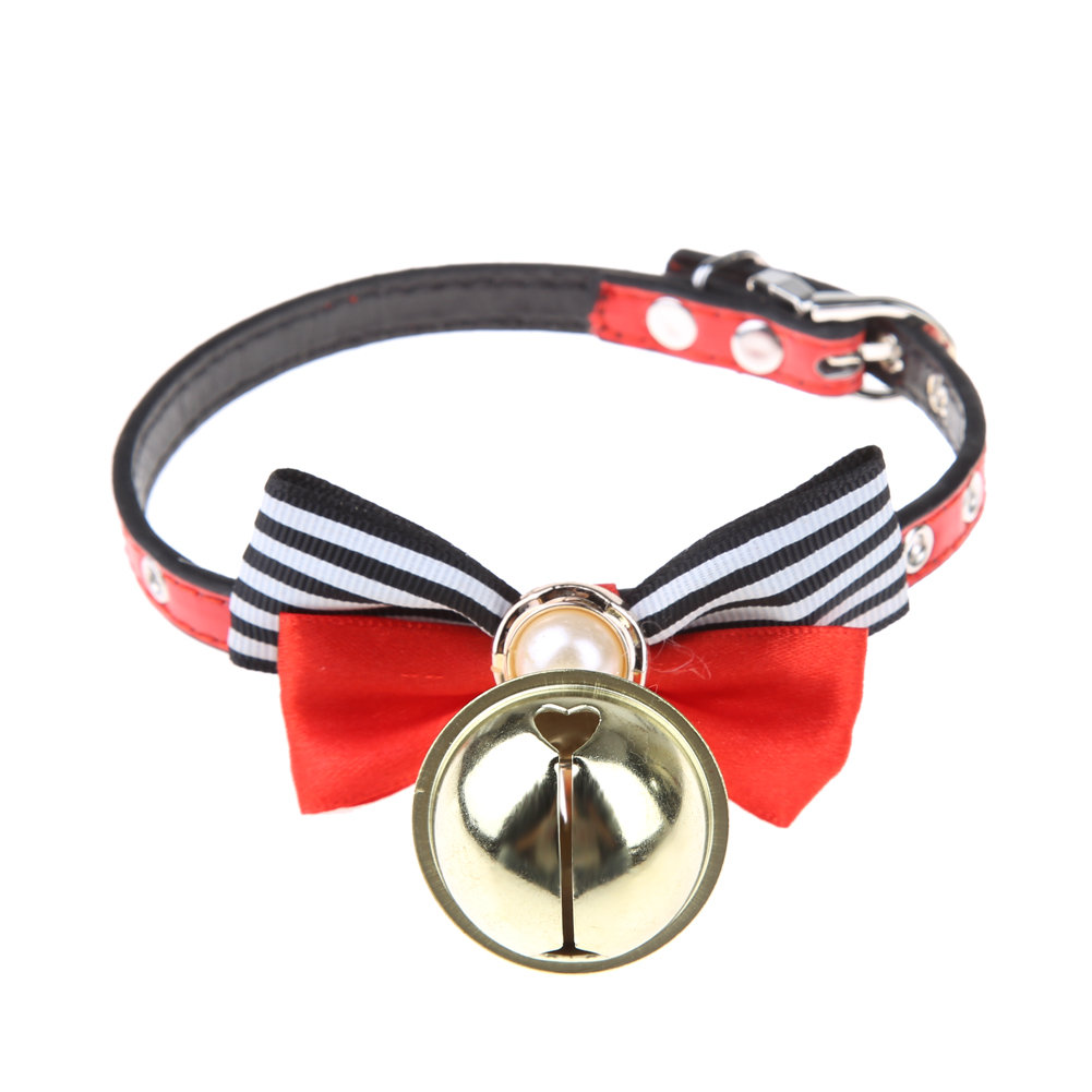 Pet Dog Collar Big Pearl Bow Leather Bell Pet Puppy Cat Accessories Leather Collars Red+ Black Pet Products(China (Mainland))