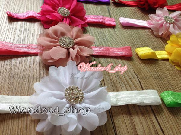 Free shipping Hair accessories 60pcs Wholesale baby 3 Chiffon flowers stamen hollow wheel rhinestone  with FOE headband 10Color<br><br>Aliexpress