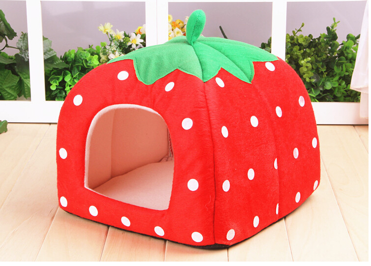 Lovely Strawberry Pattern Warm Bed/Home For Pet/Cat&Puppies dog bed pet house puppies bed(China (Mainland))