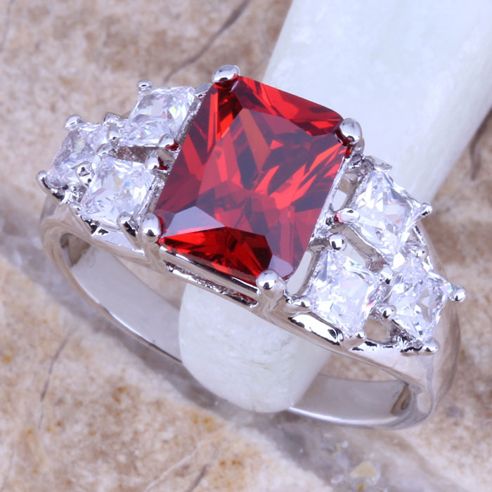 Eye-Catching Red Garnet White Topaz 925 Sterling Silver Overlay Women's Jewelry Ring Size 6 / 7 8 9 Free Gift Bag R0378 - jewelry1688 store