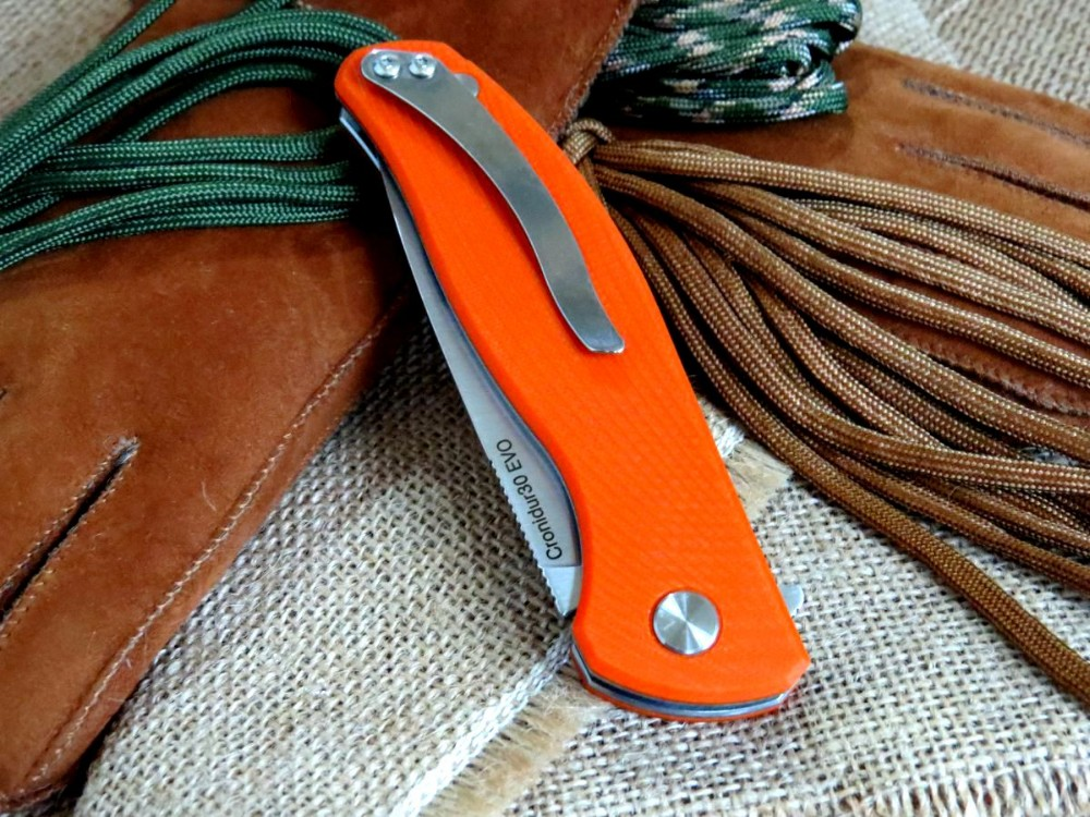 Buy Good Looking Bearing knife 9CR18MOV blade Orange Texture G10 Handle Tactical Survival Camping Folding Knife Outdoor tool cheap
