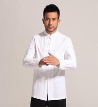 White Men Cotton Linen Long sleeve Kung Fu Shirt Classic Chinese Style Tang Clothing Size S M L XL XXL XXXL hombre Camisa Mim903(China (Mainland))