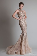 Sexy See Through Button Back Mermaid Trumpet Elie Saab Evening Dresses With High Neck Luxurious Silver