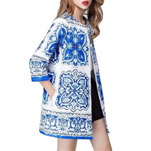 2015 Autumn Winter Styles Women Blue White Porcelain Robe Vintage Print Long Loose Cotton Trench Coat(China (Mainland))