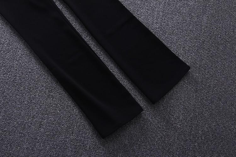 Best Grade New Runway Fashion Clothes Set 2016 Spring Women Lace Patchwork Blouse Tops+Full Length Black Pant Trousers(1Set)2pcs