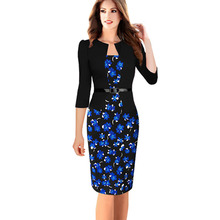 Oxiuly 2015 women plus size dresses 4XL Faux Twinset Belted Tartan Floral Lace Patchwork Business Pencil Sheath Bodycon Dress