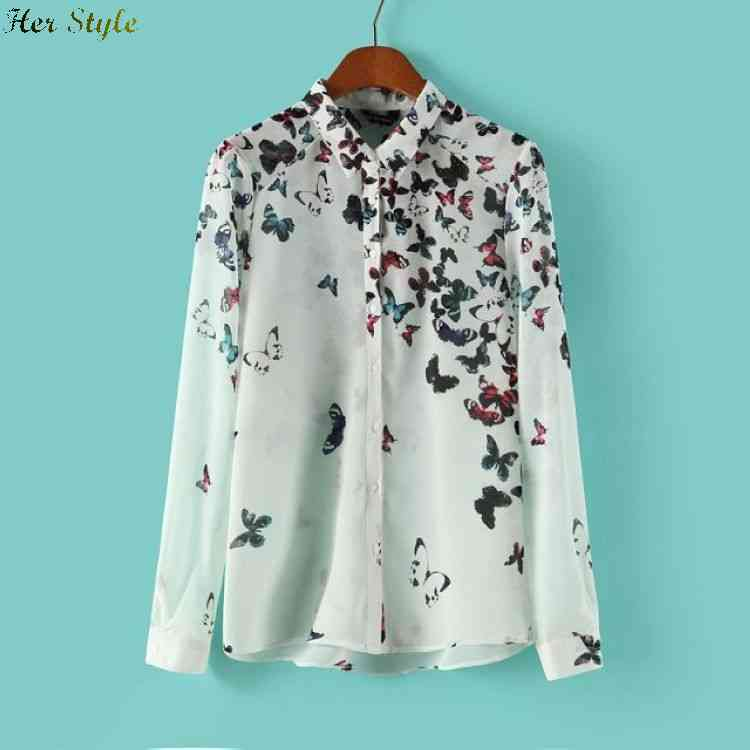 Free Shipping 4097042 summer styles fashion the perfect neutral position Butterfly print long sleeve shirt 1425976029(China (Mainland))