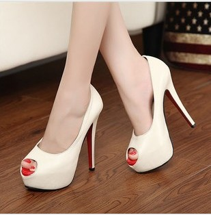 all white red bottom heels