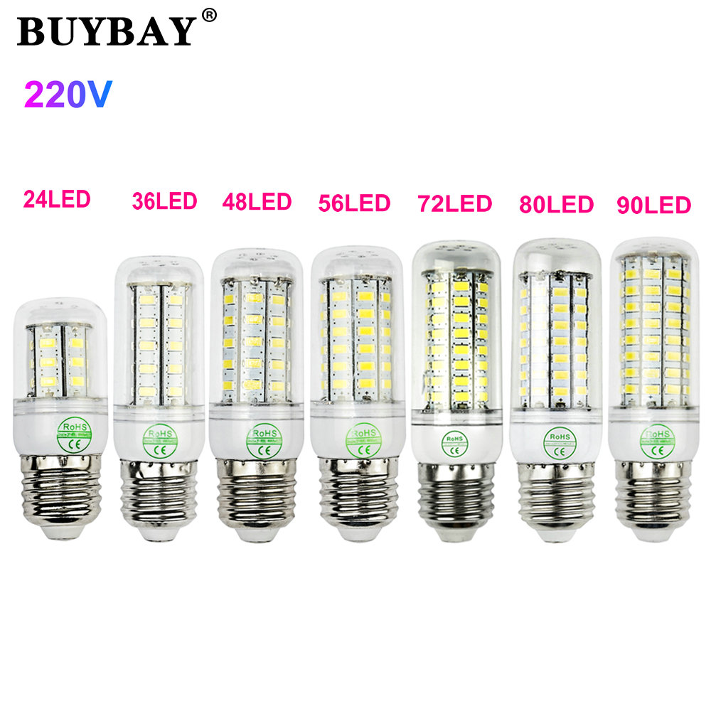 BUYBAY 220V 240V Mini LED Lamp E27 SMD5730 LED Corn Light Lampada LED Bulb High Lumen 24/36/48/56/72/80/90LEDs Chandelier Light(China (Mainland))