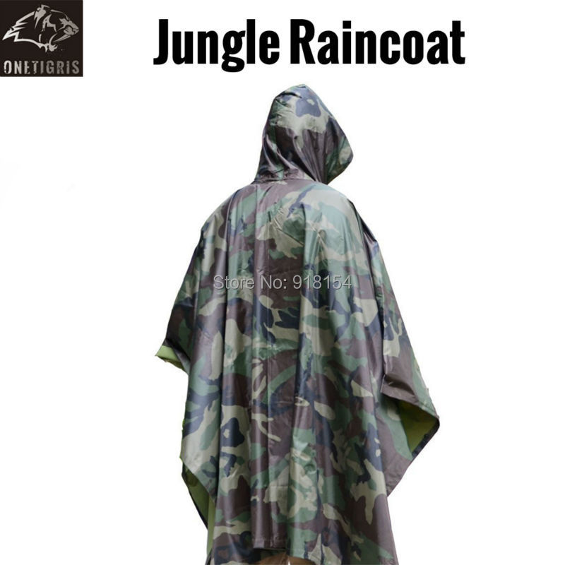 OneTigris Camouflage Rip-Stop Military Raincoat Jungle Multifunctional Poncho Tactical Poncho Multicam Outdoor Rain Poncho Men(China (Mainland))