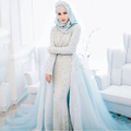 Luxury Powder Blue Muslim Wedding Dress 2017 Beaded Crystal Pearls Romantic Tiffany Wedding Formal Gowns Muslim