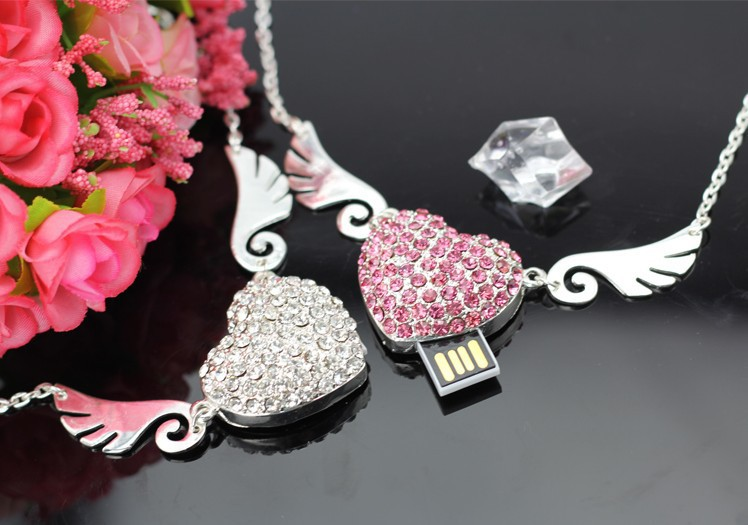 Fashion Jewelry Crystal Chain Necklace Angel wings memory stick USB Flash drive pen drive 100% Real 4GB 8GB 16GB 32GB(China (Mainland))