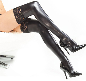Sexy Lingerie Lace Up Black Latex Stockings Faux Leather Wet Look Vinyl Fetish Socks Pole Dance Clothes Woman Hose(China (Mainland))