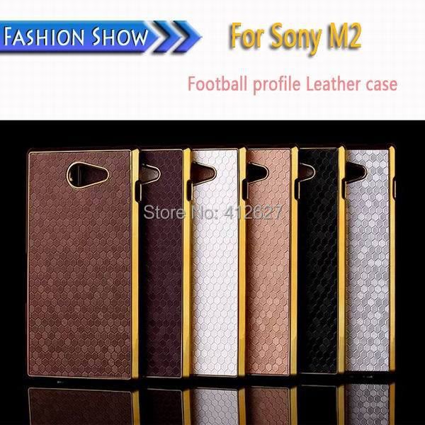 Business Style Square Grid Chromed Edge Hard Case For Sony S50h xperia M2 M 2 Case Plastic Mobile Phone Cover(China (Mainland))
