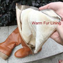 Meotina Mùa Đông Nữ Đi Giày Chun Gót Thấp Xe Máy Giày Khóa Zip Thu Đông Nữ Cao Cấp Màu Vàng Size Lớn 9 10(China)