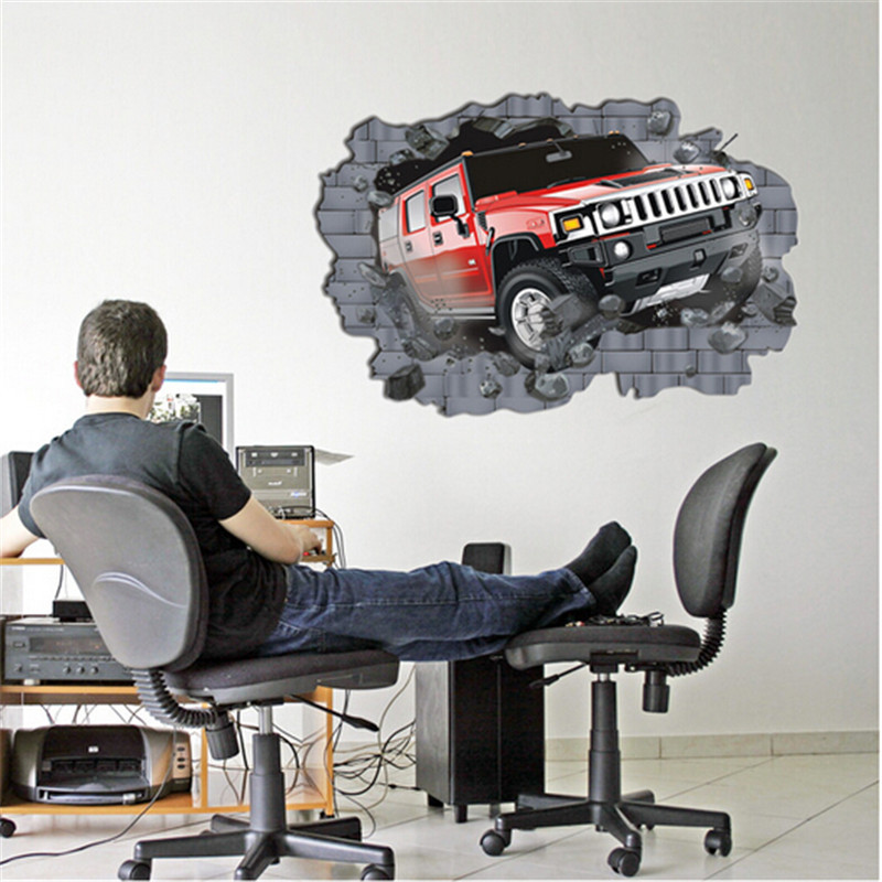 727 3D Car Pattern TV Background Removable Wall Stickers Kids Bedroom Wall Sticker Decals Wallpaper Home Decoration QT445