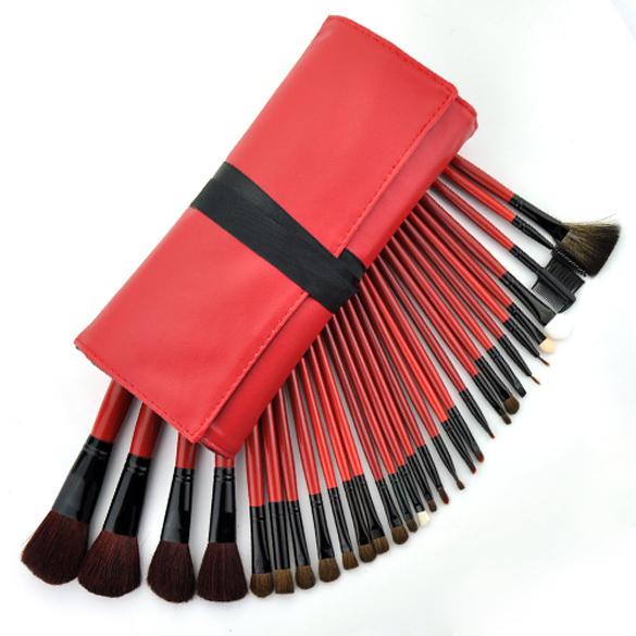 30PCS Superior PRO Soft Cosmetic Makeup Brush Set Kit Red Bag Case Hot TL 8
