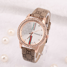 2015 Luxury Rhinestone Watch Fashion Leather Quartz Watch Women Dress Watches Ladies Clock relojes montre femme