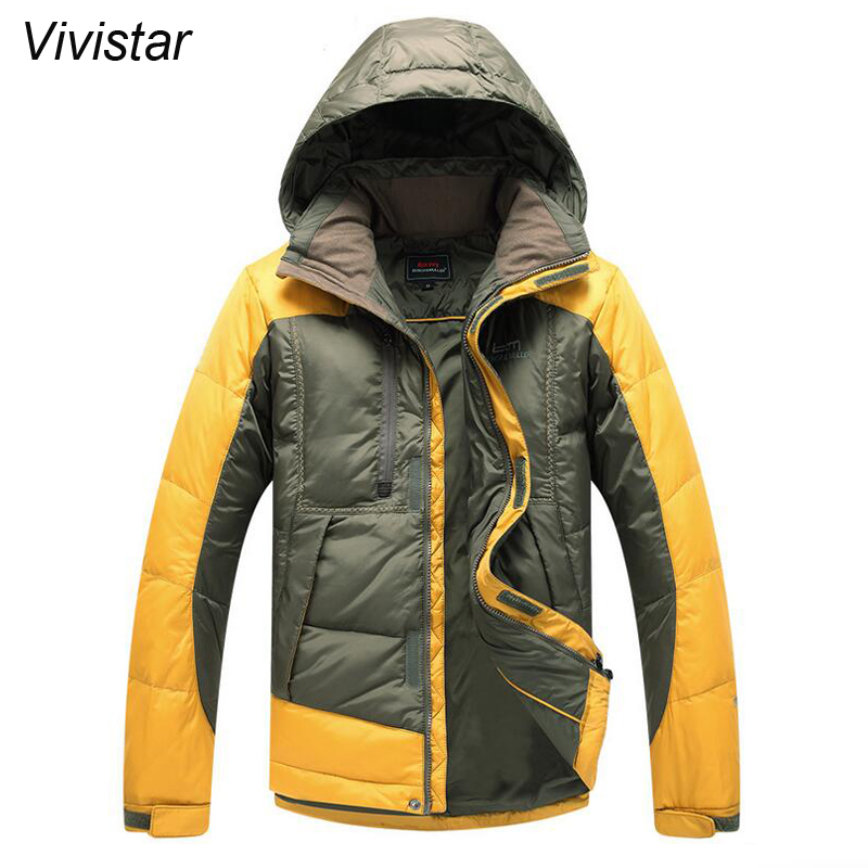 Detachable Hoood Men Patchwork Four Colors 2015 Winter New European Style Thick Snow Warm Fashion Casual Jackets F1549