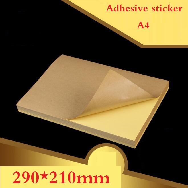 10 Sheets/lot A4 size Blank Kraft adhesive sticker/Self adhesive A4Kraft Label Paper for Laser Inkjet Printer Packaging Label(China (Mainland))