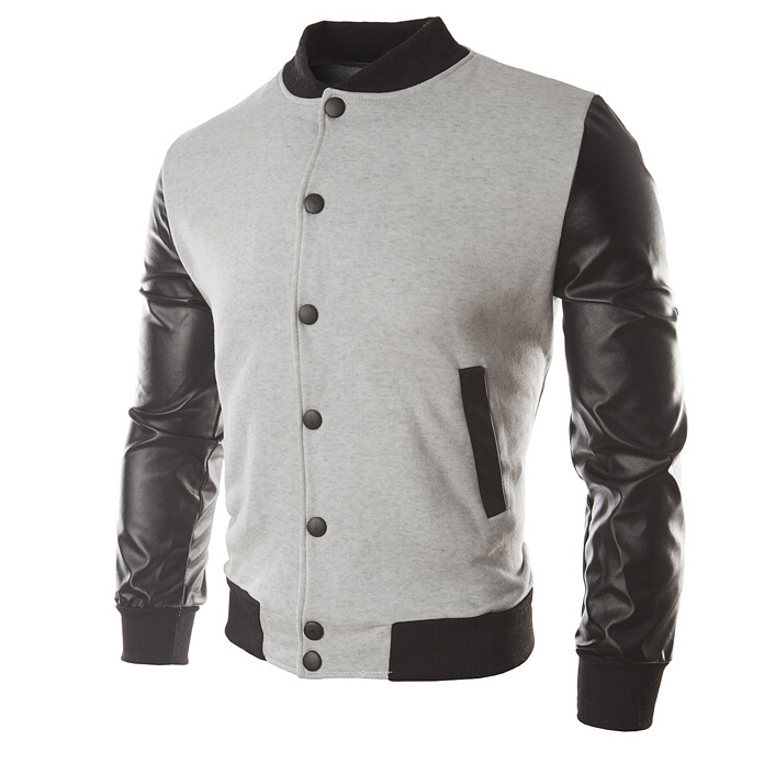 Mens Baseball Jacket With Leather Sleeves - Jacket