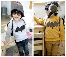 2016 Spring children's clothing baby boys sweatshirt long sleeve thicking fleece T-shirt batman printing all-match basic shirt(China (Mainland))