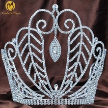 """Large 8"""" Beauty Pageant Tiara Diadem Austrian Rhinestone Crystal Floral Crown Hair Jewelry Wedding Bridal Prom Party Costumes(China (Mainland))"""