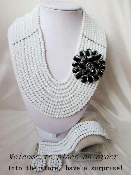 2015 Fashion white african crystal beads necklace set nigerian wedding african beads jewelry set Free shipping P-1818<br><br>Aliexpress