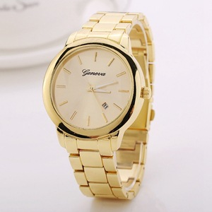Geneva men s fashion rose gold diamond gold watch business strip three eye quartz watch