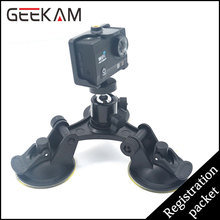 GEEKAM Removable Tri-Angle Car Suction Cup Gopro Accessories Tripod Adapter Mount Screw For GoPro HD Hero 2 3 3+ 4 Xiao Yi Cam