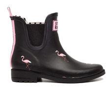 DRIPDROP Natürliche Gummi Stiefel für Frauen Knöchel Regen Stiefel Mädchen Wasserdicht Pull Auf Mode Schuhe Rosen Flamingo(China)