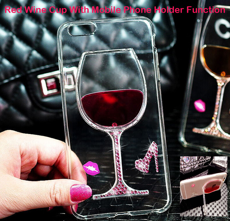 Luxury Crystal Red Wine Cup Liquid Transparent Soft TPU Phone Case Cover For iPhone 6 6 Plus Mobile Phone Holder Cases(China (Mainland))